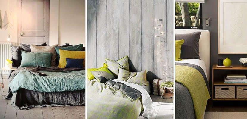 Ropa de cama gris y verde