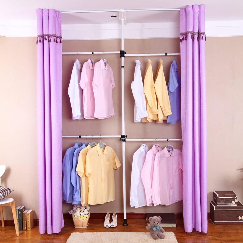 Las ventajas de los armarios de tela en tu hogar - Cortinas para armarios sin puertas ...