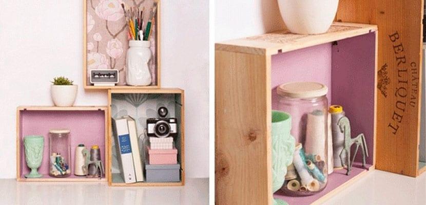 Decorar con cajas de madera de fruta recicladas - Estanterias con cajas de fruta ...