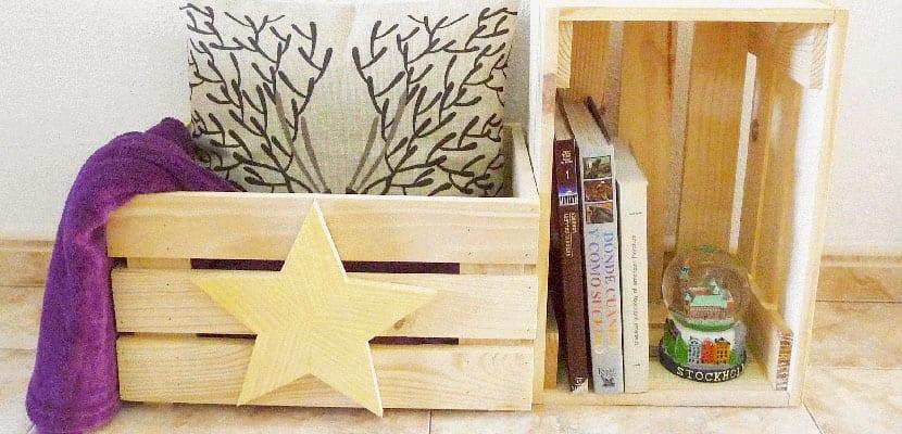 Decorar con cajas de madera de fruta recicladas - Cajas de almacenaje ...