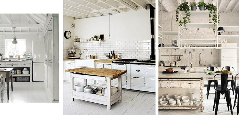 Cocinas blancas rústicas e industriales