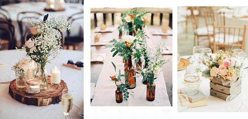 Centro de mesa floral rústico
