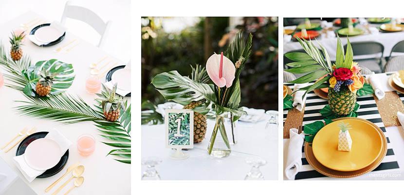 Centros de mesa tropicales