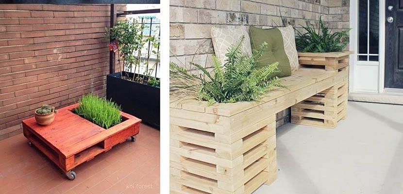 Muebles de palets con jardinera
