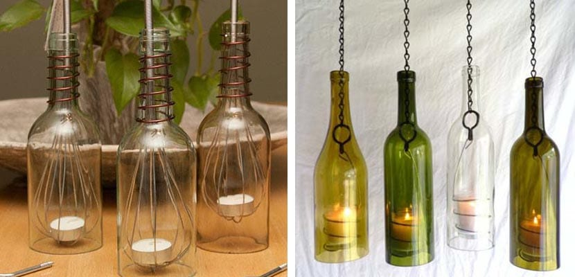 Decorar botellas de cristal botellas de vidrio rbol de - Botellas con velas ...