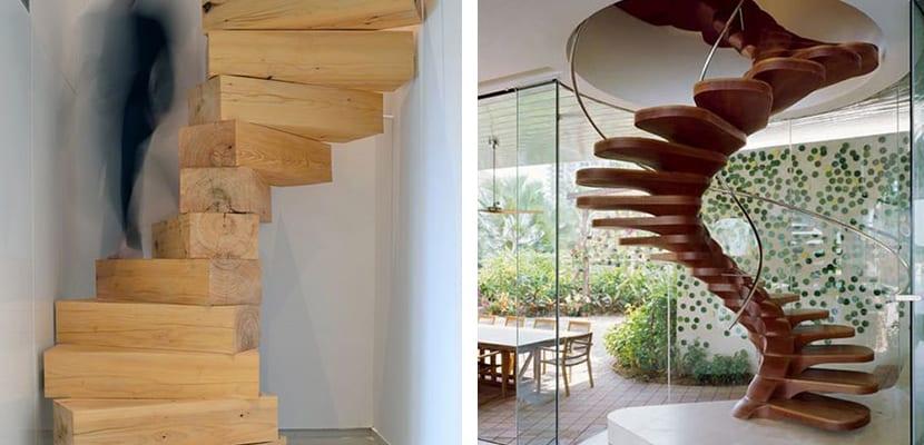 Escaleras de caracol en madera