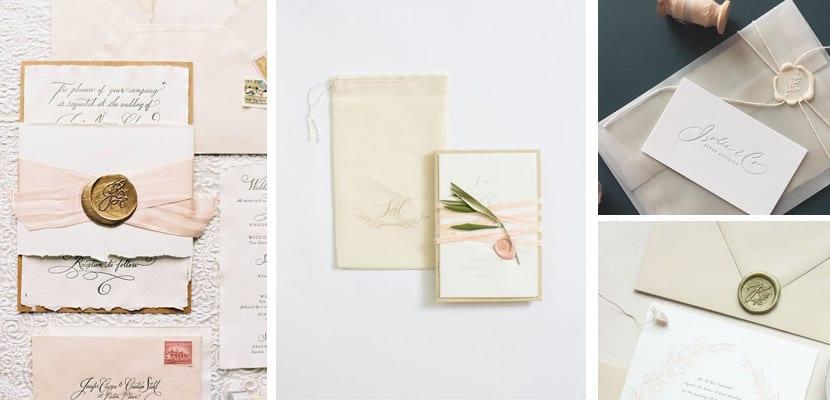 Invitaciones de boda vintage con sello de lacre