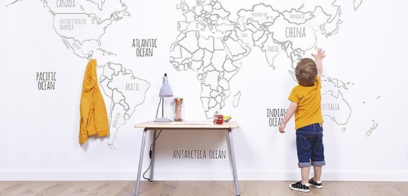 Papel pintado infantil ideas para decorar el cuarto de - Papel pintado mapamundi ...