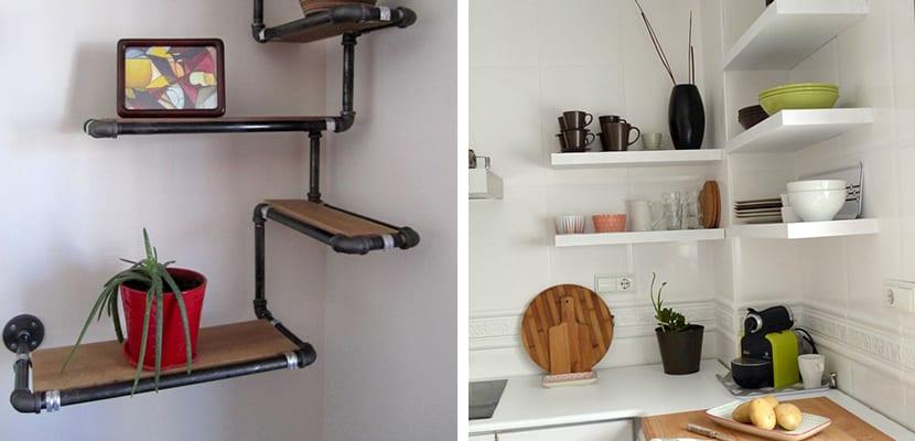 utilizar las baldas de madera para decorar el hogar