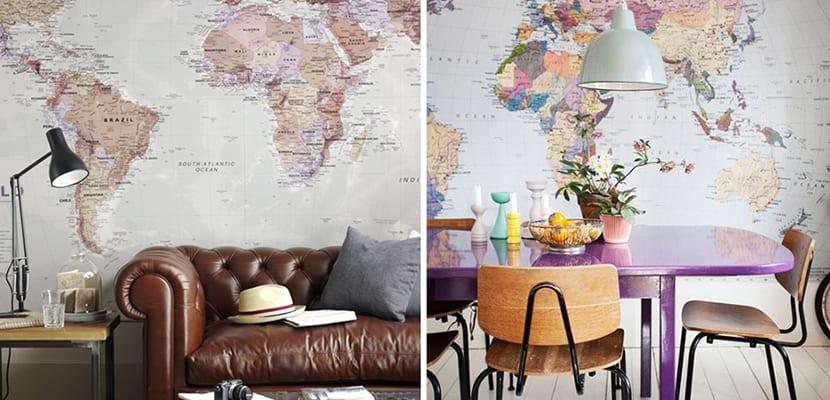 Decorar el hogar con papel pintado vintage - Papel pintado mapamundi ...