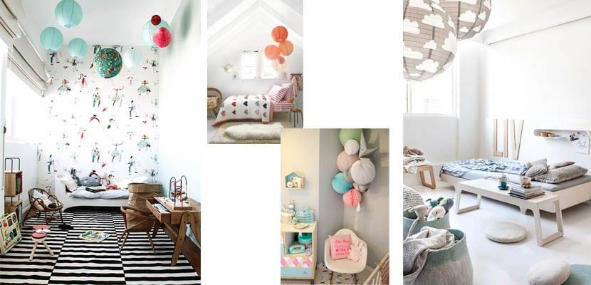 Dormitorios infantiles decorados con farolillos