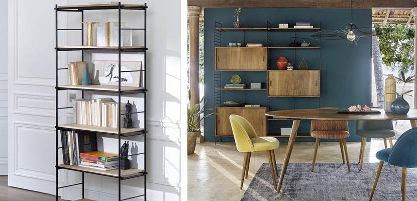 Estanterías para libros combinadas: madera y metal