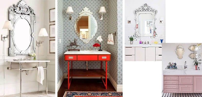 Espejos venecianos en el cuarto de baño