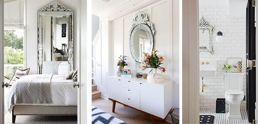 Espejos venecianos como decoración