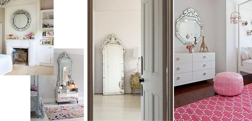 Espejos venecianos en el dormitorio