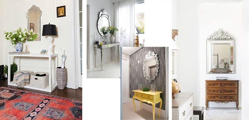 Espejos venecianos en el recibidor
