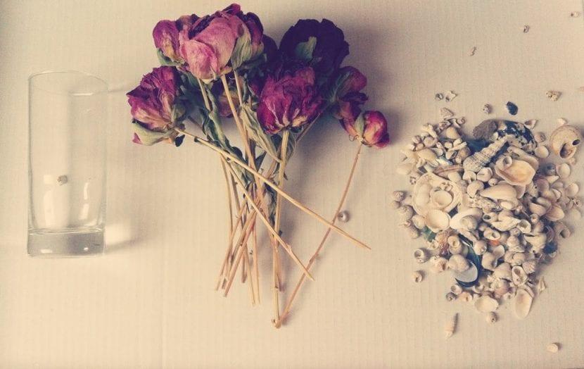 flores secas en bote