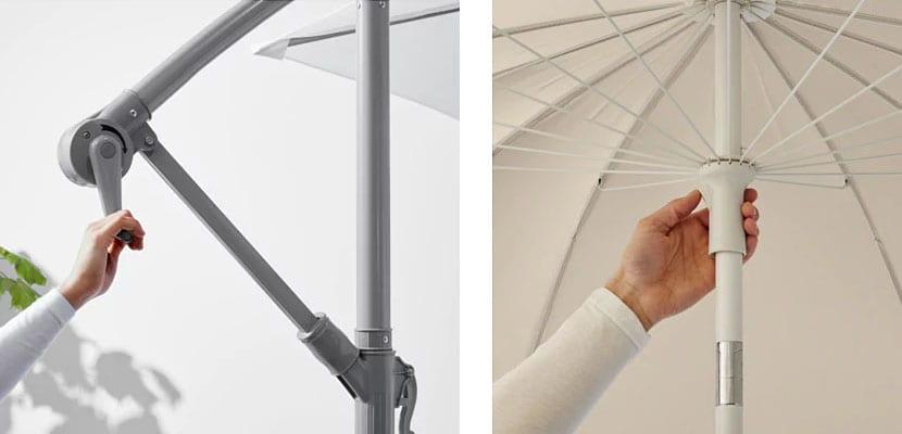 Sombrillas de Ikea: Sistema de apertura