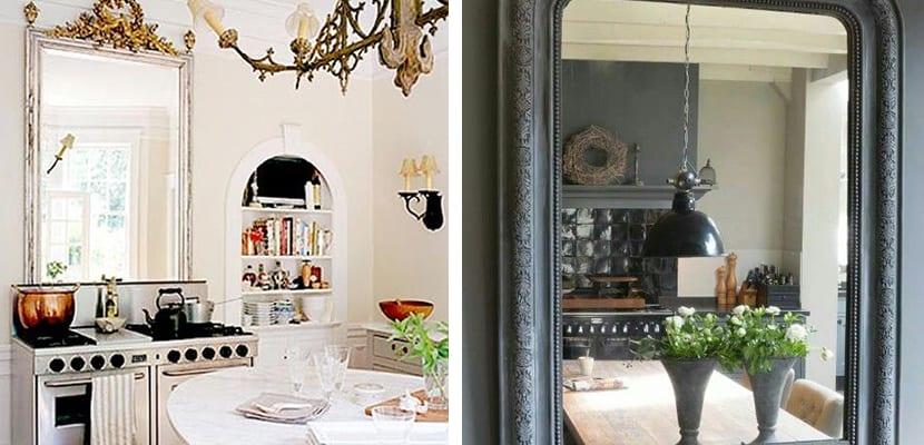 Espejos grandes en la cocina
