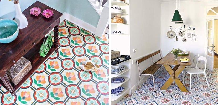 Azulejos hidráulicos en el suelo