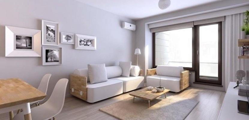 Salón con muebles nórdicos