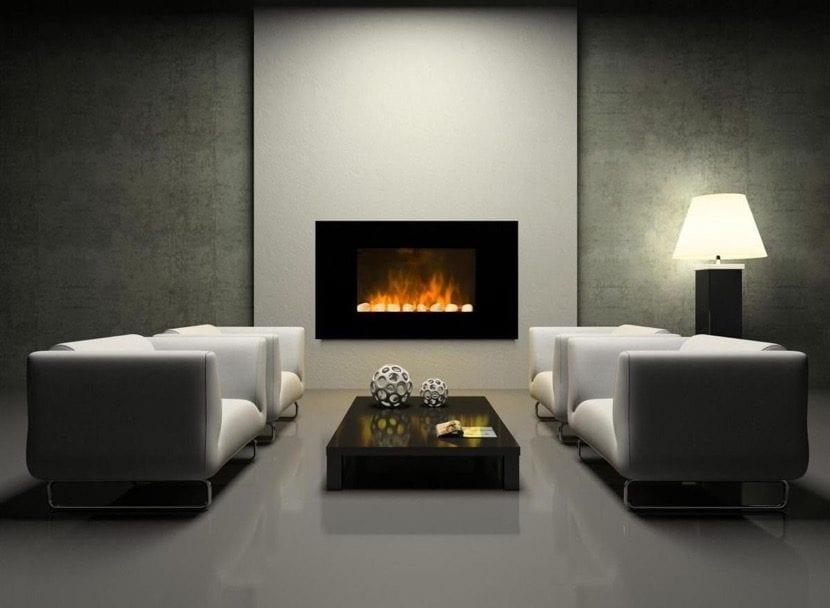 sala de estar elegante con estufa decorativa