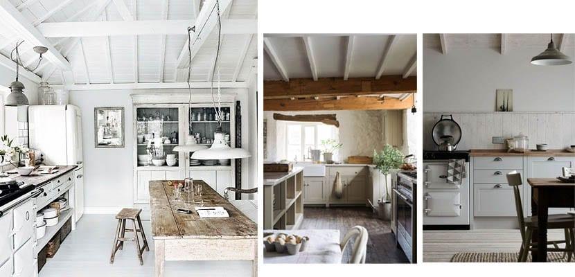 Cocinas rusticas con muebles claros