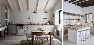 Cocinas rústicas con muebles claros