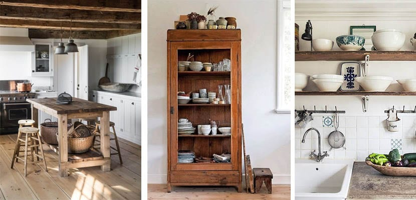 Cocinas rústicas con muebles de madera