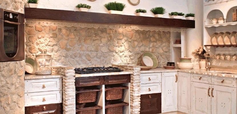 Cocina con piedra