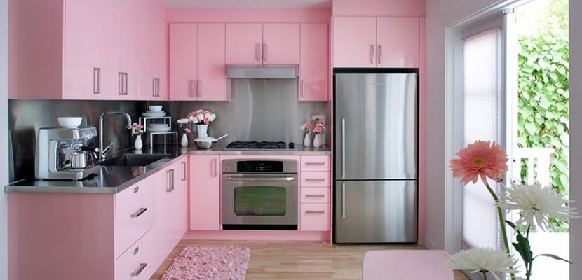 Cocina rosa claro