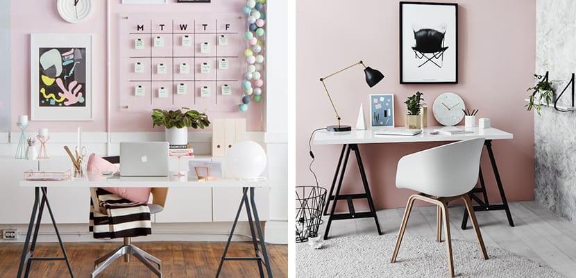 Oficina con rosa pastel