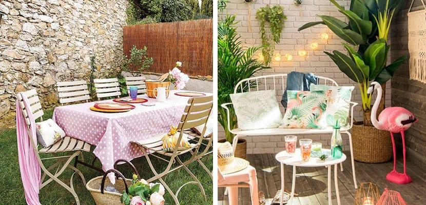 Colores rosa pastel en la terraza