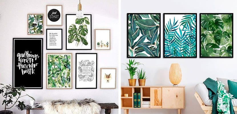 Láminas decorativas en estilo tropical