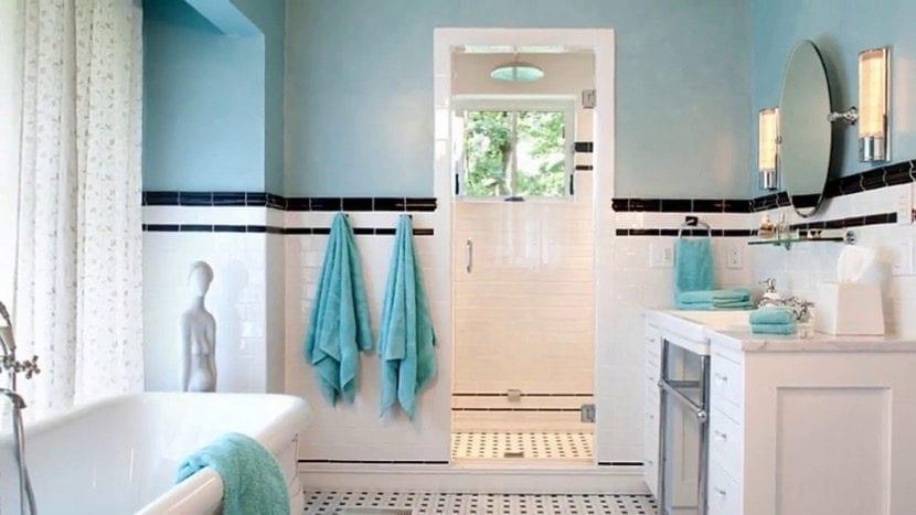 decoracion turquesa en el baño