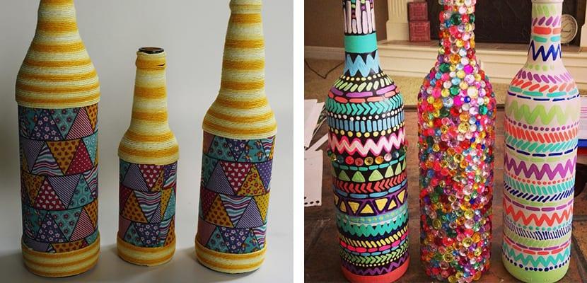 Botellas pintadas para el hogar