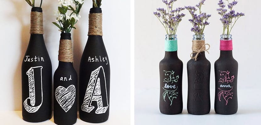 Botellas con pintura de pizarra