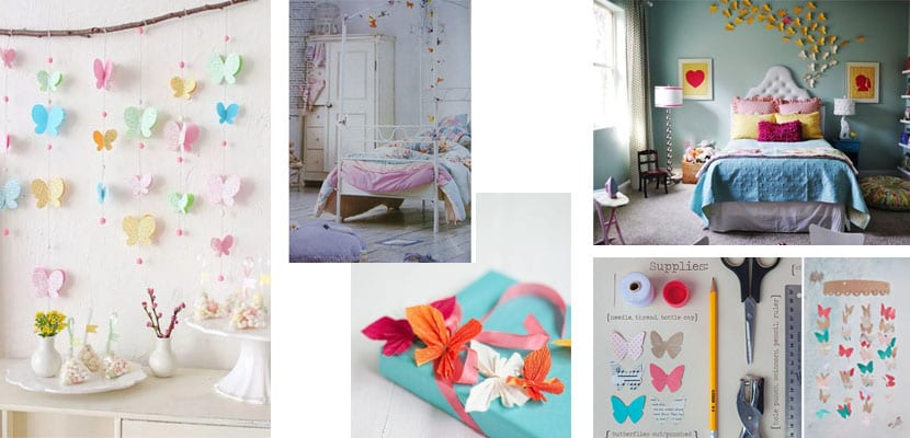 Decorar con mariposas de papel