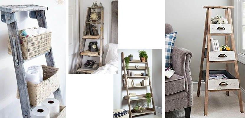 Escalera de madera como estantería