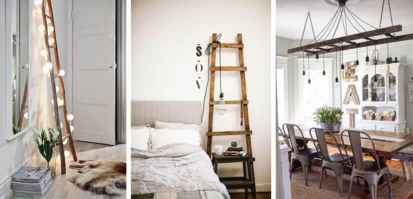 Escaleras de madera como lámparas