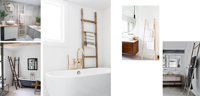 Escaleras de madera como toallero