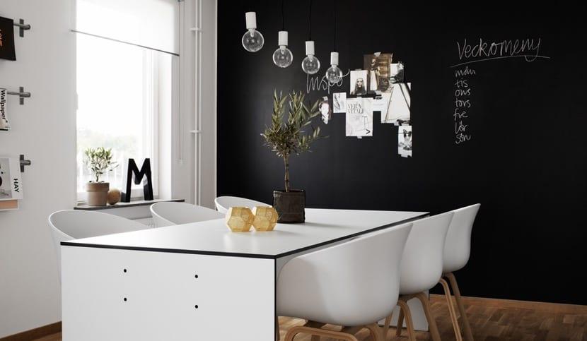 paredes negras en la cocina