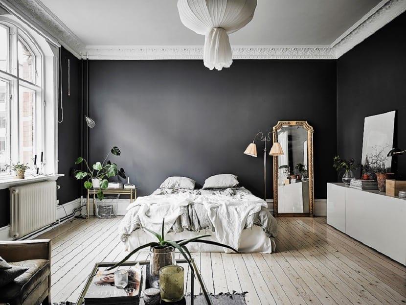 paredes negras en el dormitorio