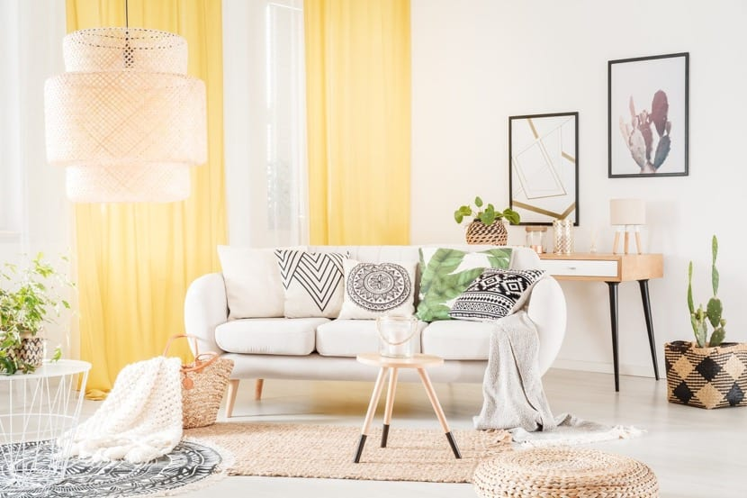 salon con muebles de ratan