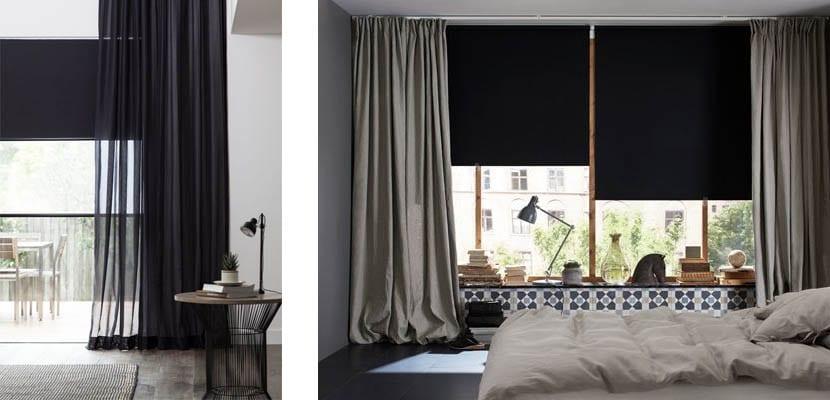 Estores negros y cortinas