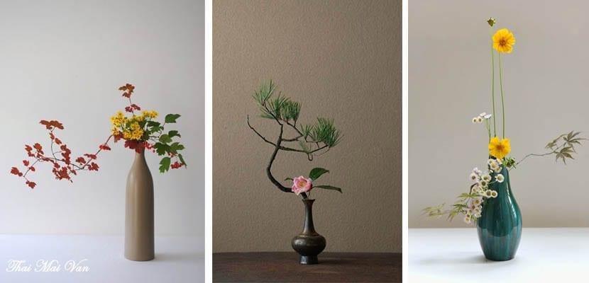 Ikebana en jarron alto