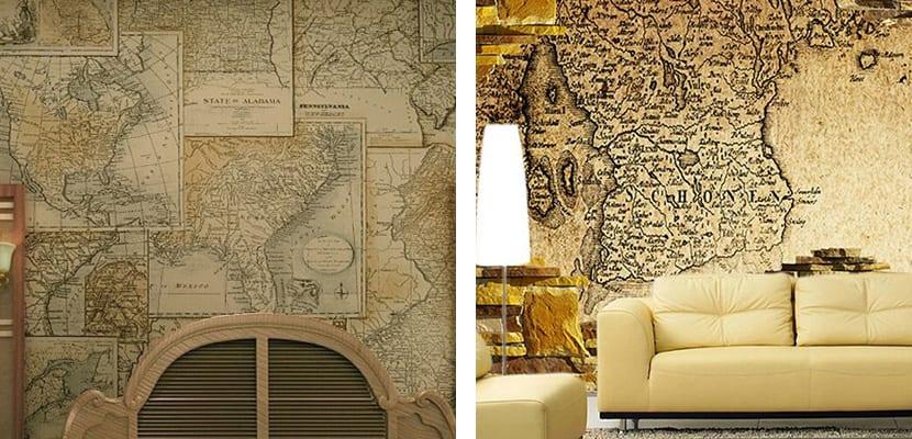 Papel antiguo mapas
