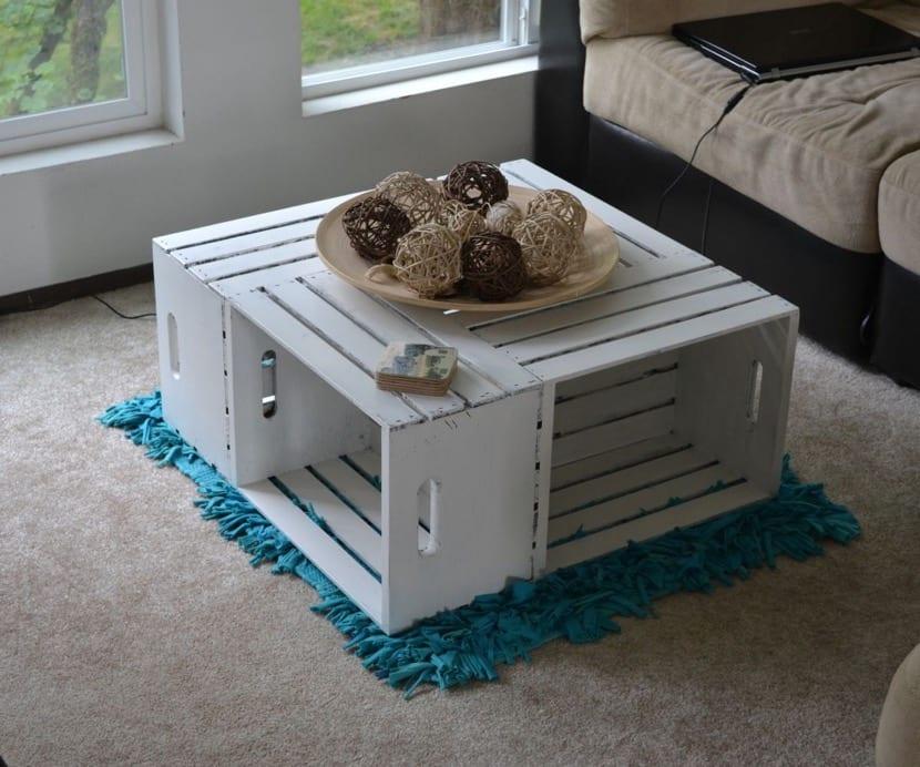 mesa de centro de cajas de madera