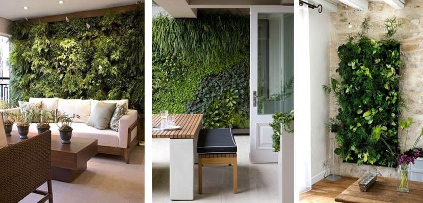 Jardines verticales artificiales interiores