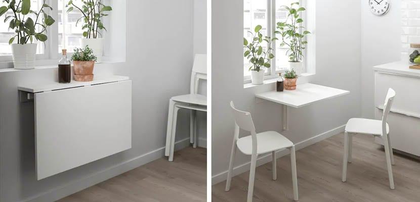 Mesas de cocina de pared plegables